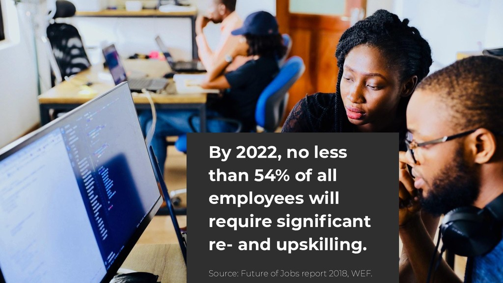 By 2022, no less than 54% of all employees will...