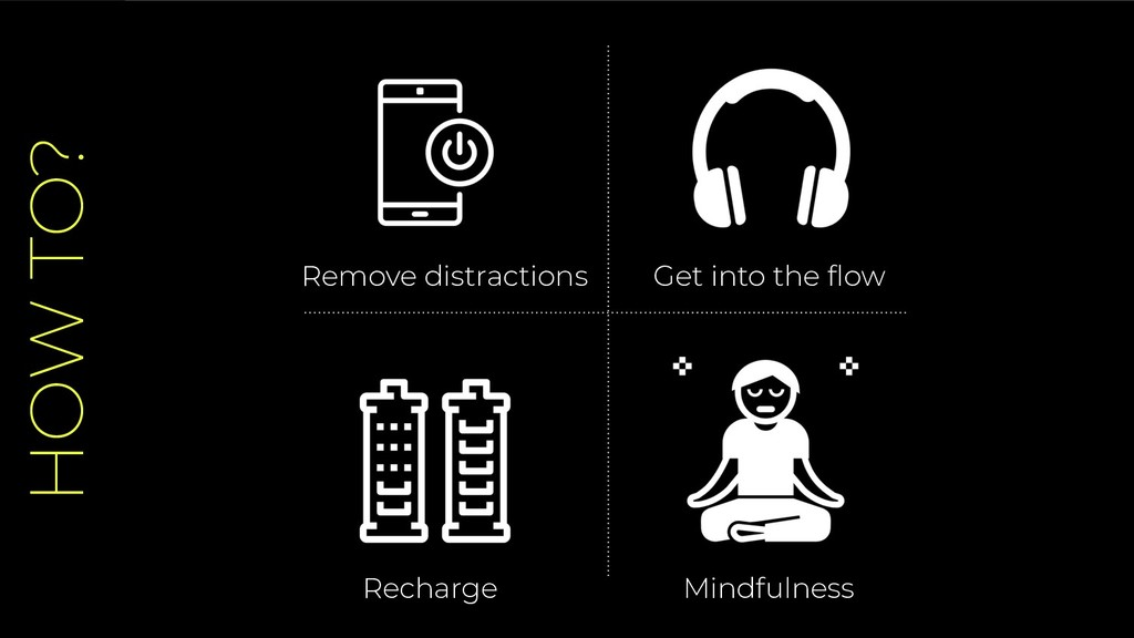 HOW TO? Remove distractions Recharge Get into t...