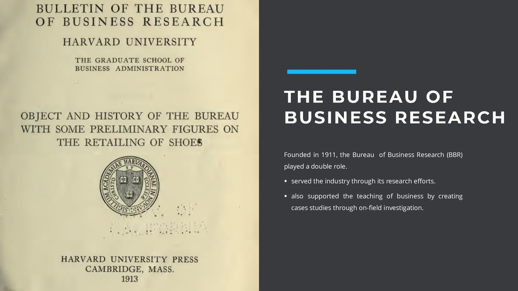 Founded in 1911, the Bureau of Business Researc...