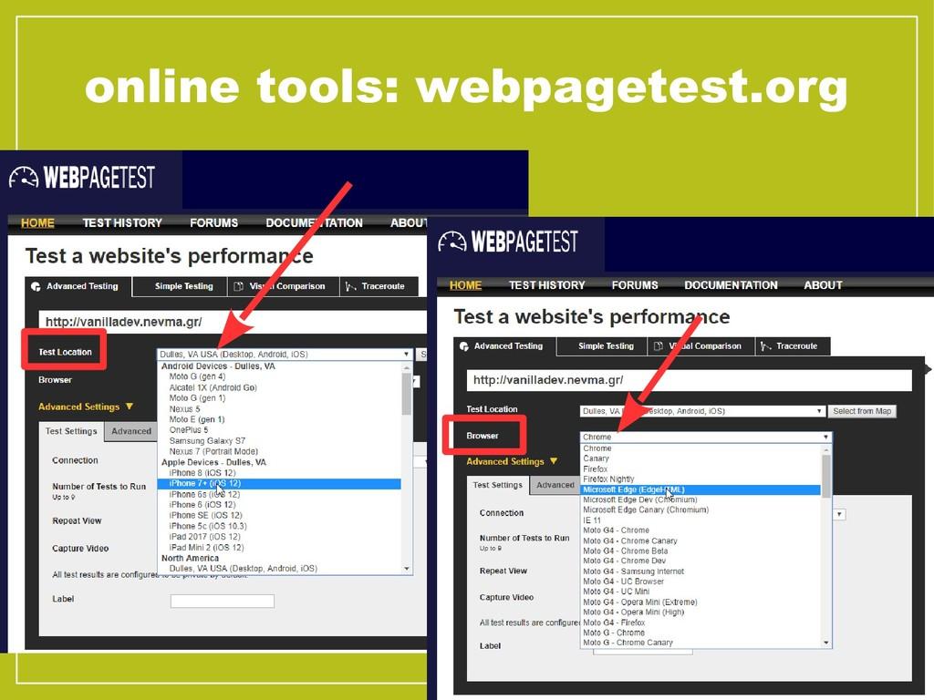 online tools: webpagetest.org