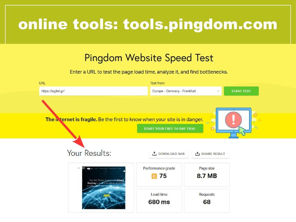online tools: tools.pingdom.com