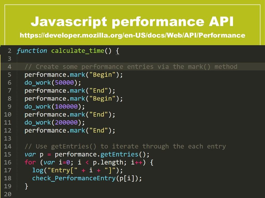 Javascript performance API https://developer.mo...
