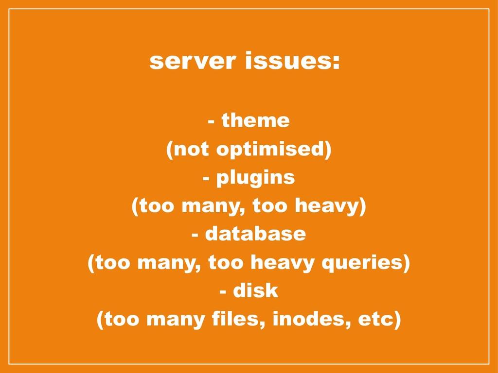 server issues: - theme (not optimised) - plugin...