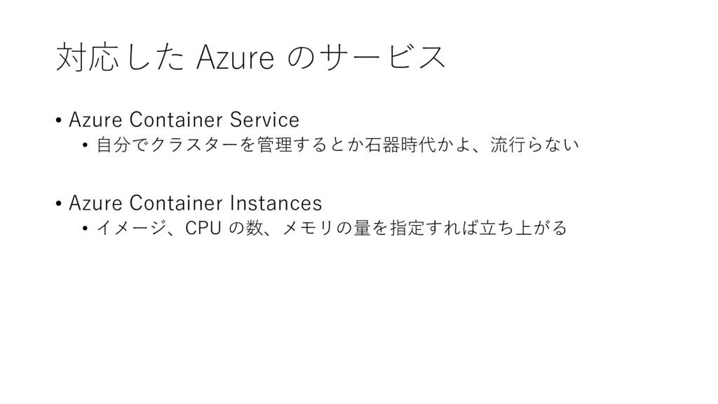 対応した Azure のサービス • Azure Container Service • 自分...