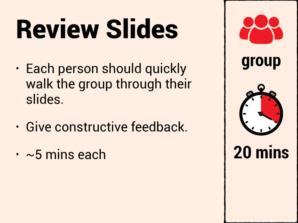 Review Slides • Each person should quickly walk...