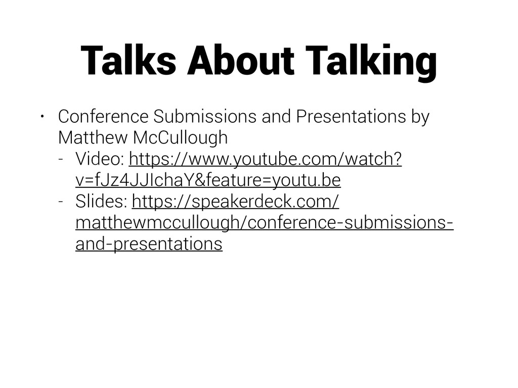 Talks About Talking • Conference Submissions an...