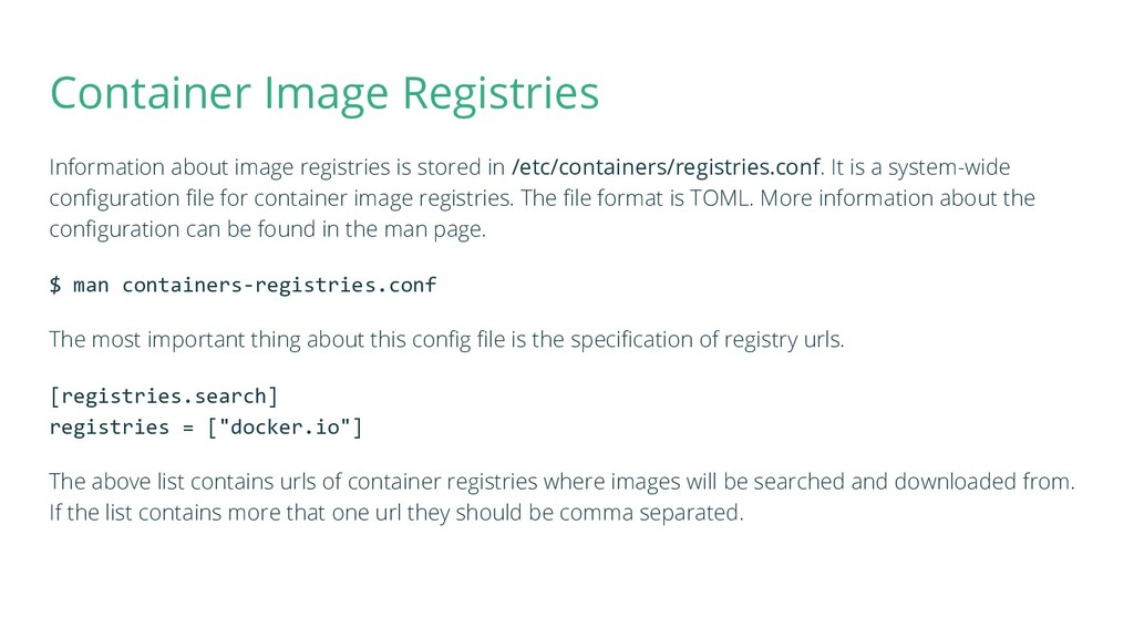 Container Image Registries Information about im...