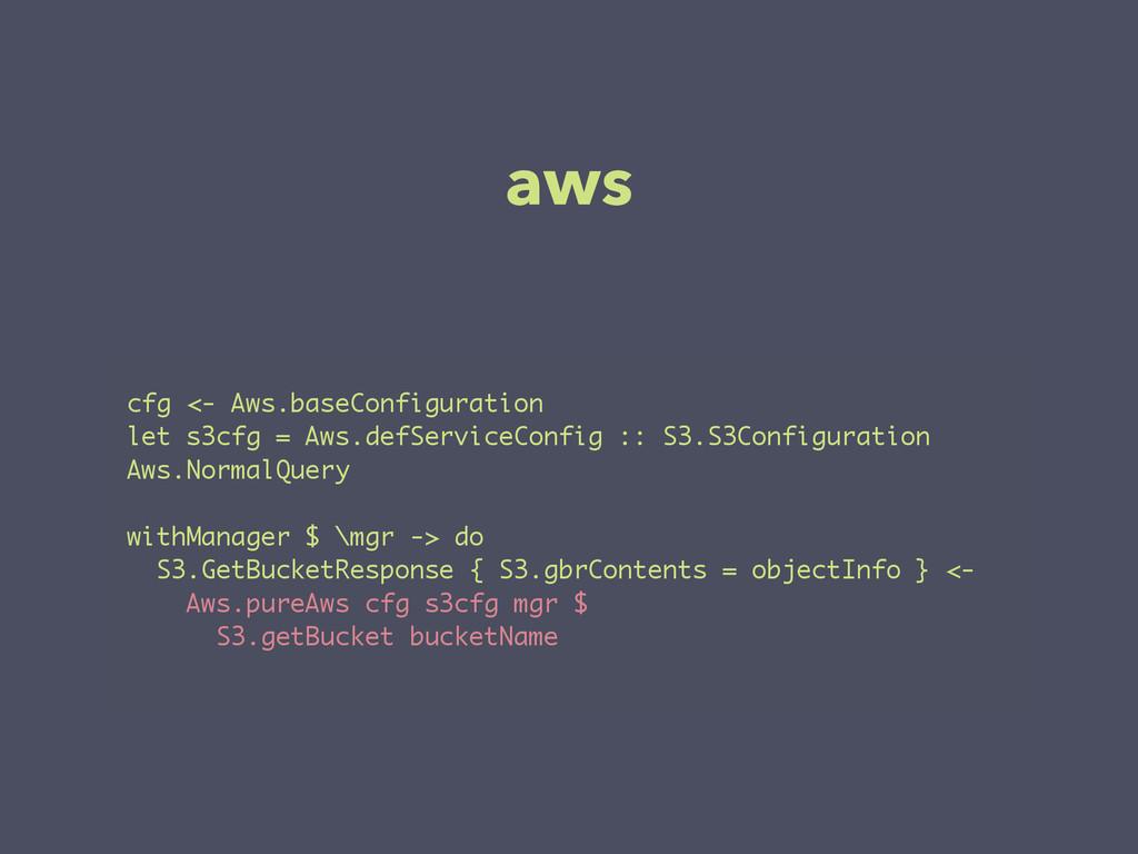 aws cfg <- Aws.baseConfiguration let s3cfg = Aw...