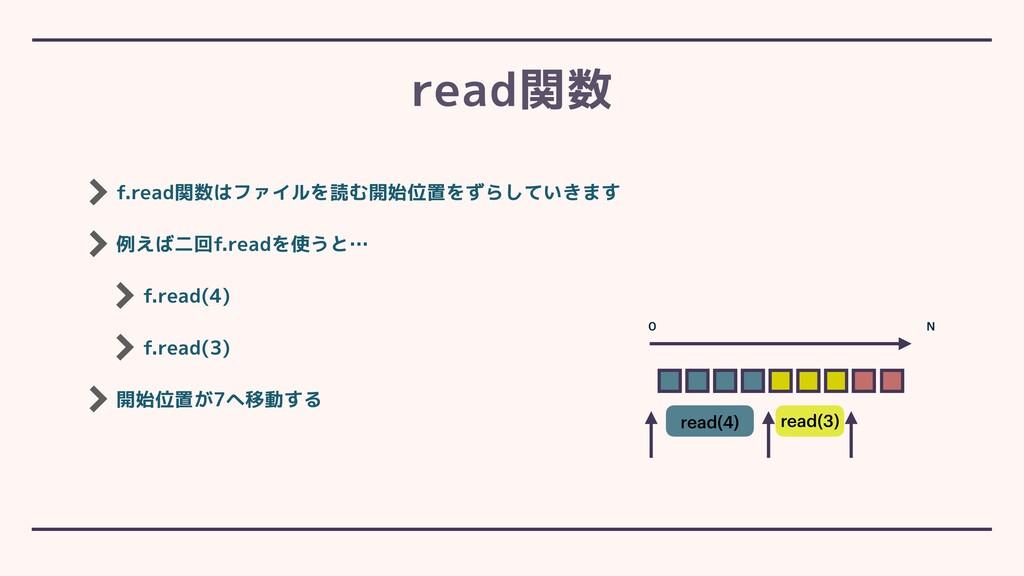 f.read関数はファイルを読む開始位置をずらしていきます 例えば二回f.readを使うと… ...