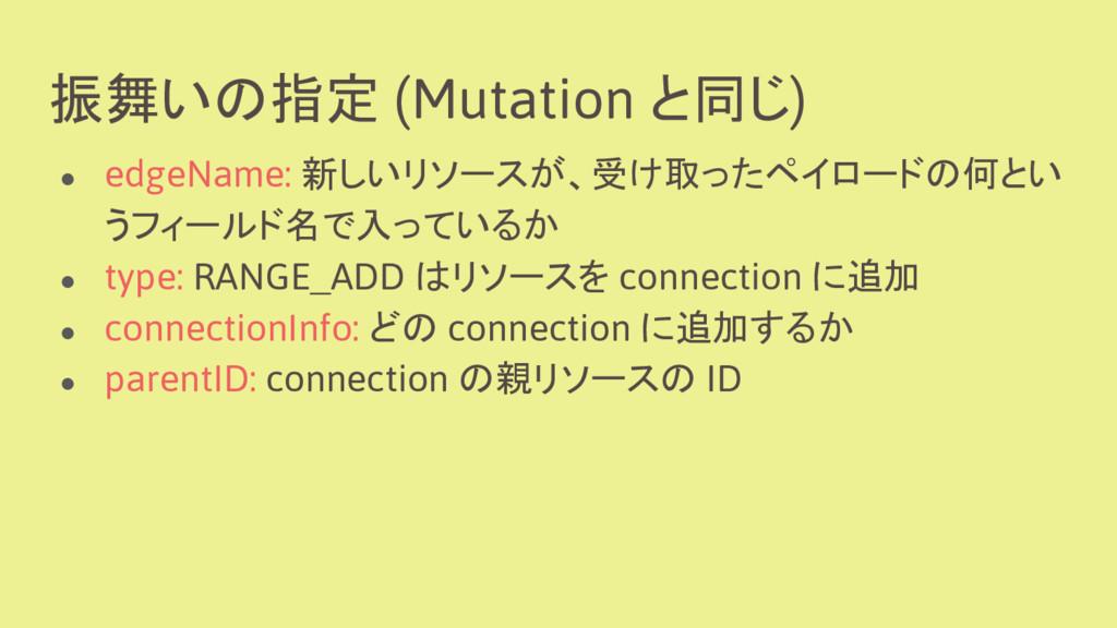 振舞いの指定 (Mutation と同じ) ● edgeName: 新しいリソースが、受け取っ...