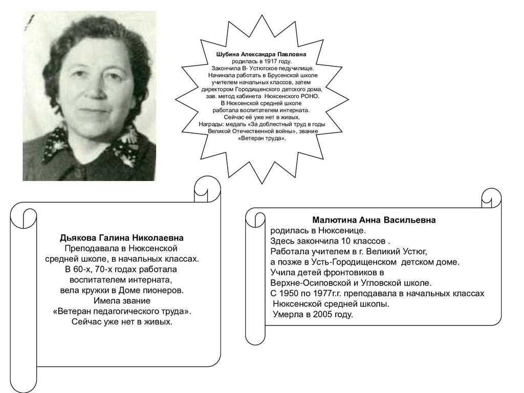 Малютина Анна Васильевна родилась в Нюксенице. ...