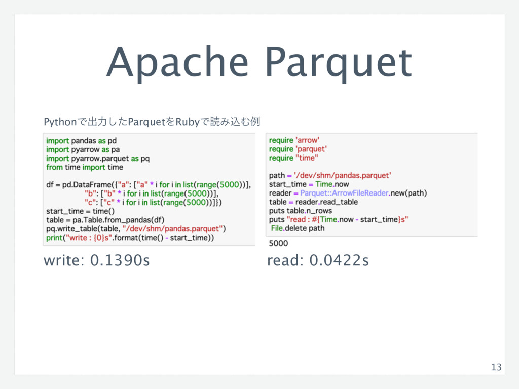 Apache Parquet 13 PythonͰग़ྗͨ͠ParquetΛRubyͰಡΈࠐΉྫ...