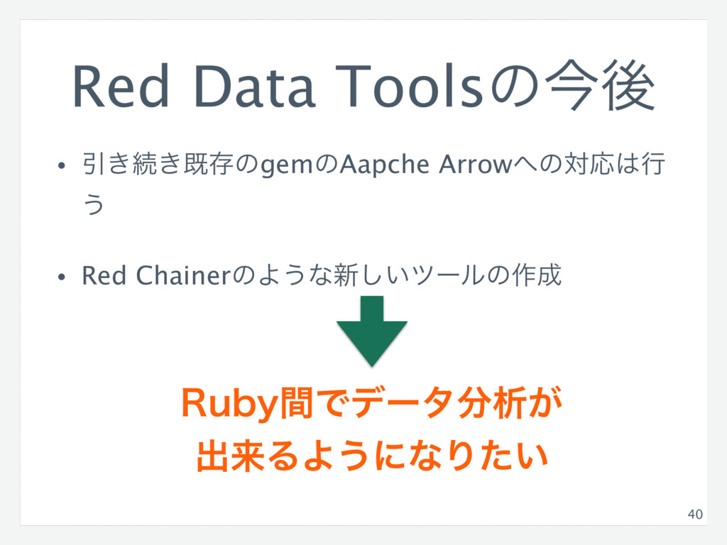 Red Data Toolsͷࠓޙ • Ҿ͖ଓ͖طଘͷgemͷAapche Arrow΁ͷରԠ...