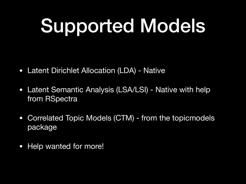 Supported Models • Latent Dirichlet Allocation ...