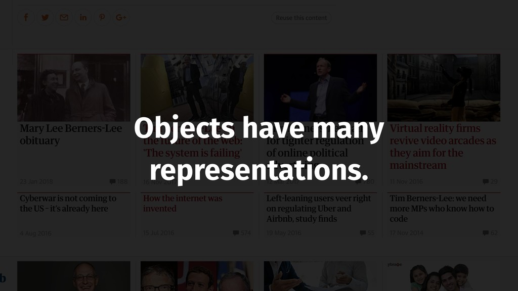 Objects have many representations.