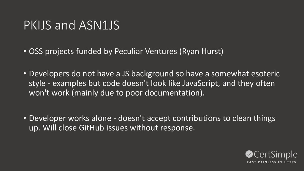 PKIJS and ASN1JS • OSS projects funded by Pecul...