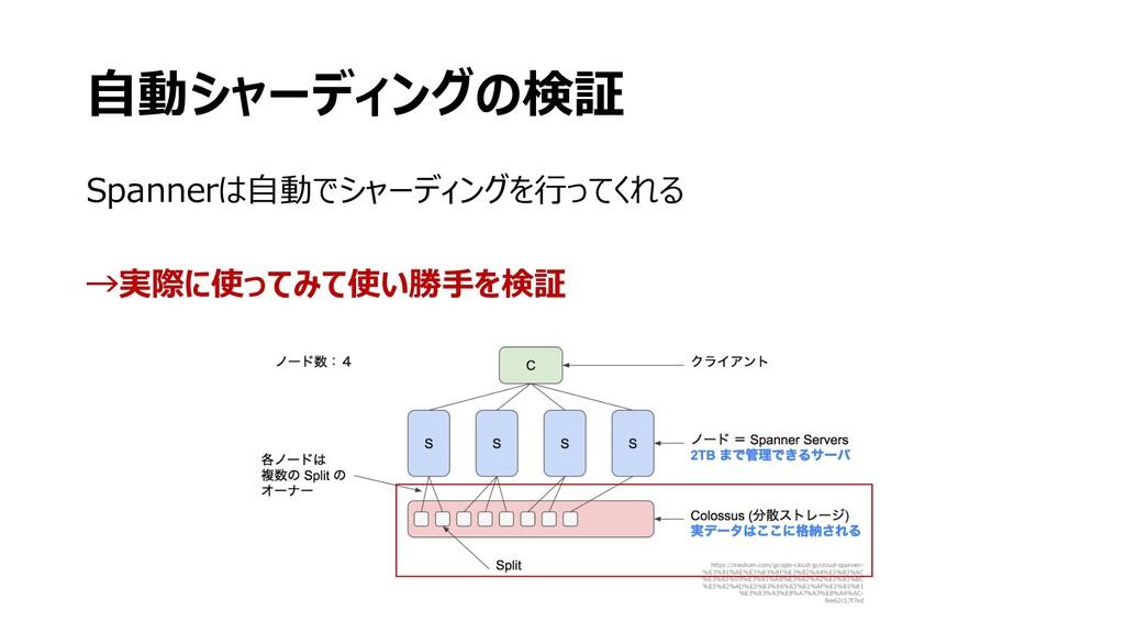 ⾃動シャーディングの検証 Spannerは⾃動でシャーディングを⾏ってくれる →実際に使ってみ...