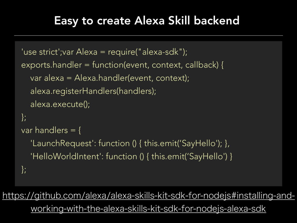 Easy to create Alexa Skill backend IUUQTHJUI...