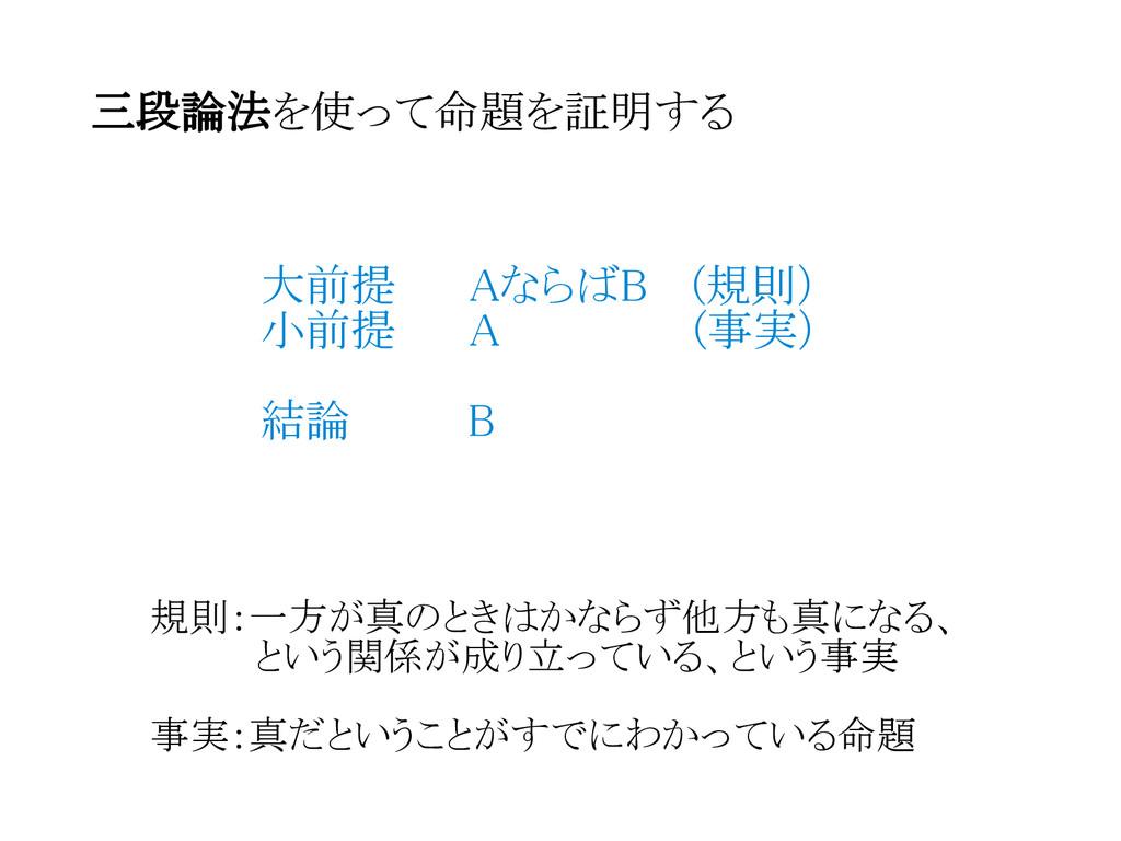 三段論法を使って命題を証明する  大前提   AならばB  (規則)  小前提   A    ...