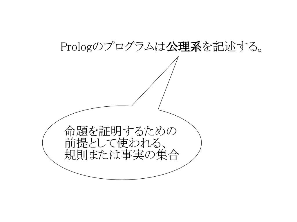 Prologのプログラムは公理系を記述する。 命題を証明するための 前提として使われる、 規則...
