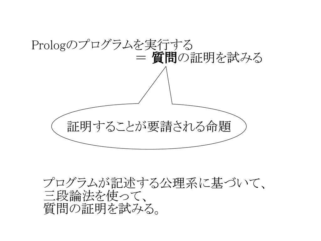 Prologのプログラムを実行する             = 質問の証明を試みる 証明するこ...