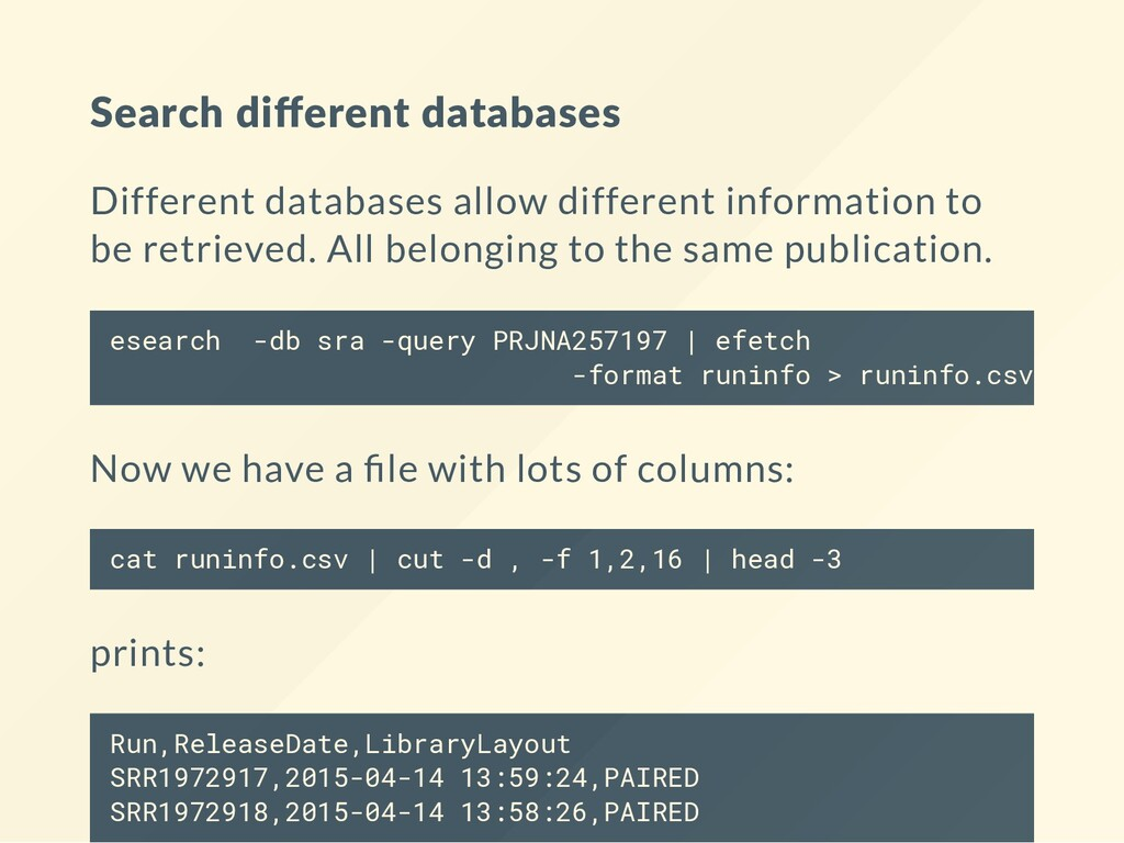 Search different databases Different databases a...