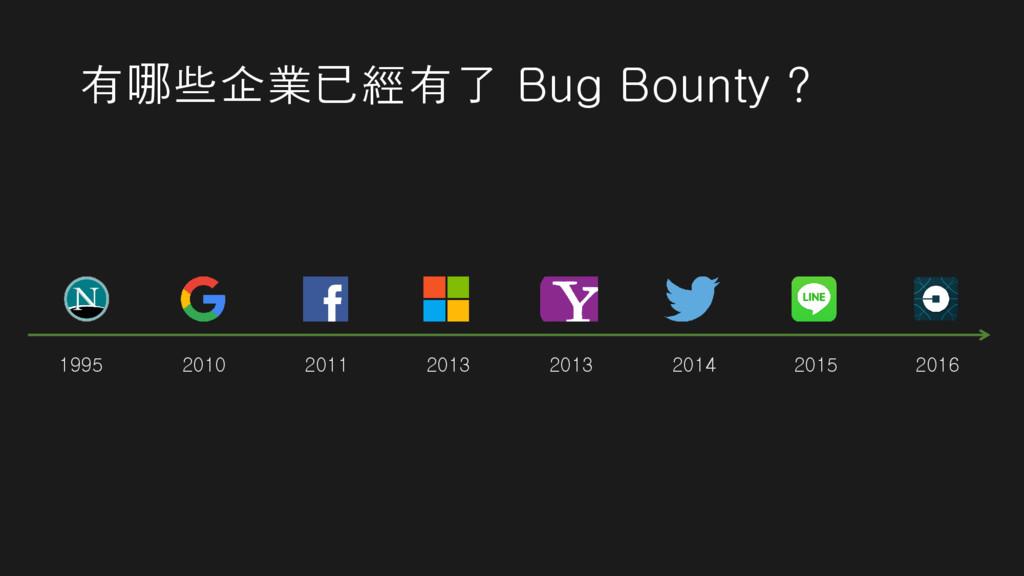 有哪些企業已經有了 Bug Bounty ? 1995 2010 2011 2013 2013...