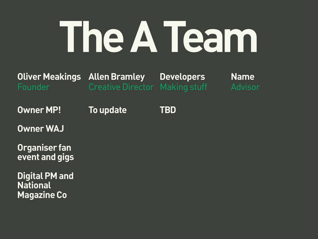 The A Team Oliver Meakings Founder Allen Bramle...