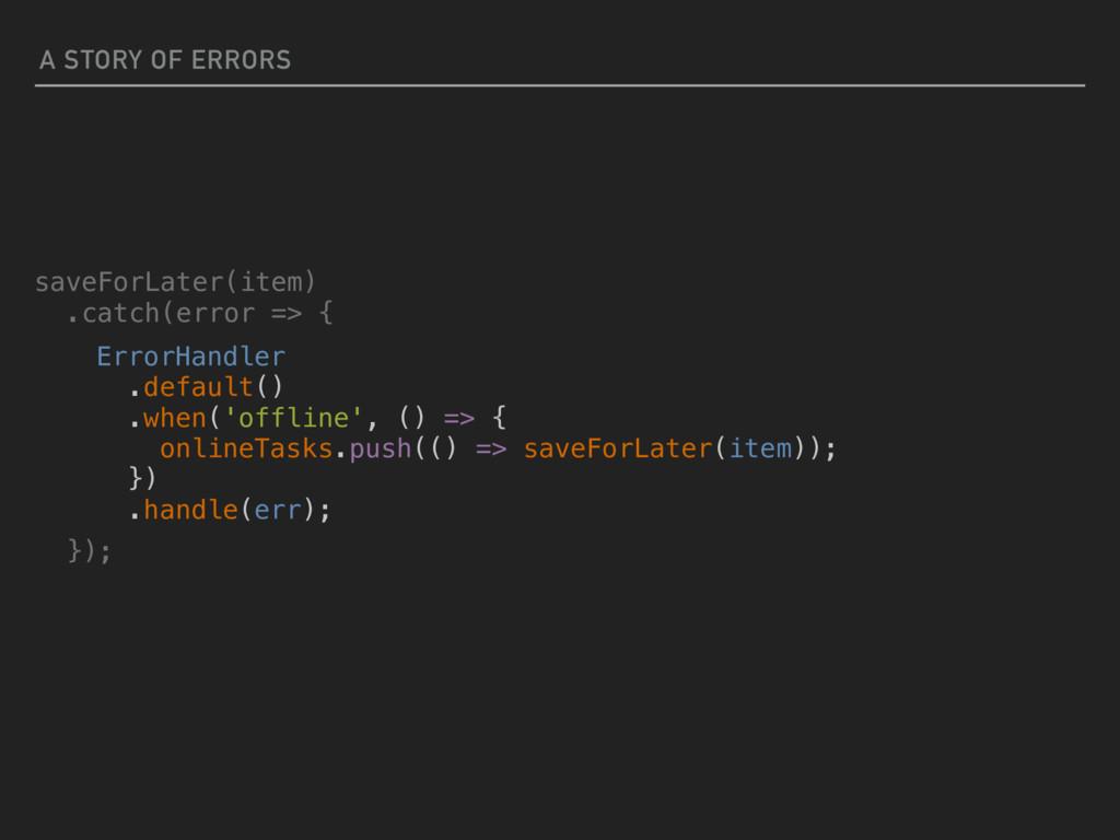 A STORY OF ERRORS ErrorHandler .default() .when...