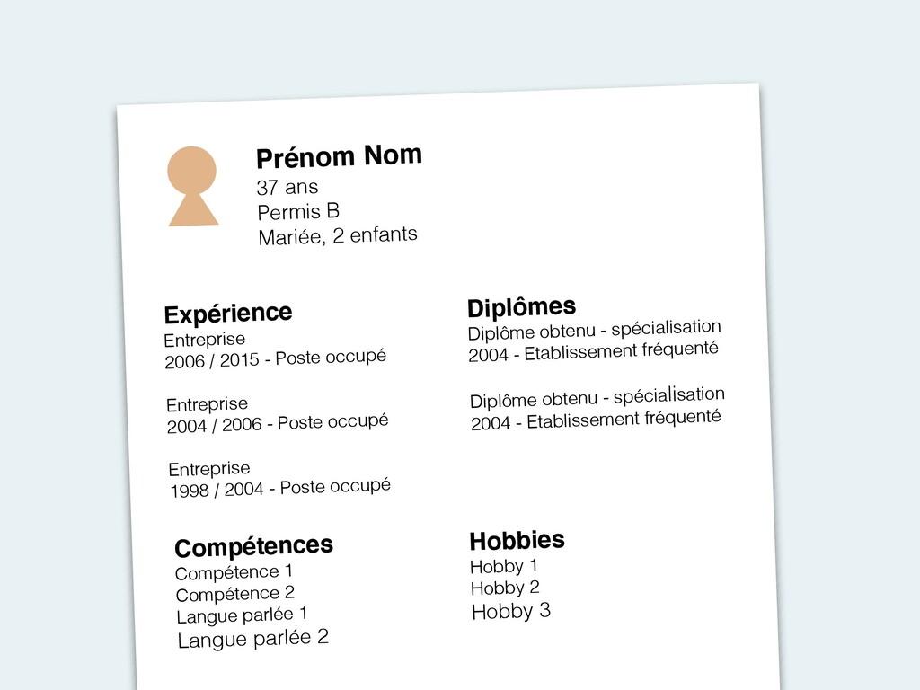 Prénom Nom 37 ans Permis B Mariée, 2 enfants Ex...