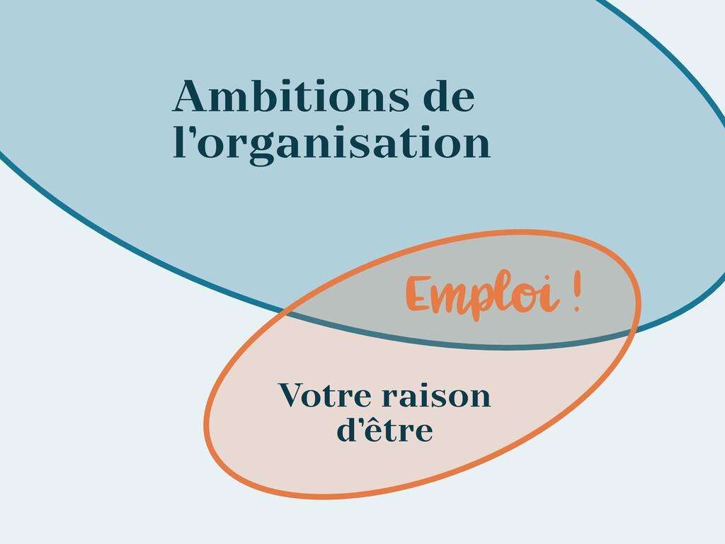Ambitions de l'organisation Votre raison d'être...