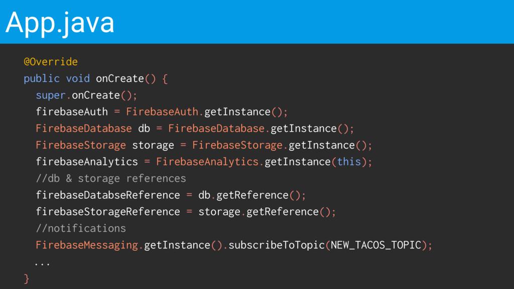 App.java @Override public void onCreate() { sup...