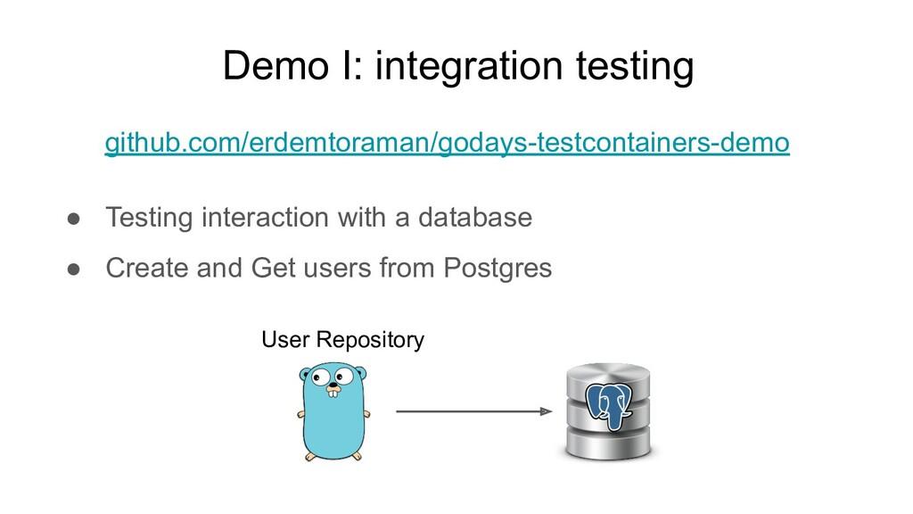 Demo I: integration testing User Repository git...