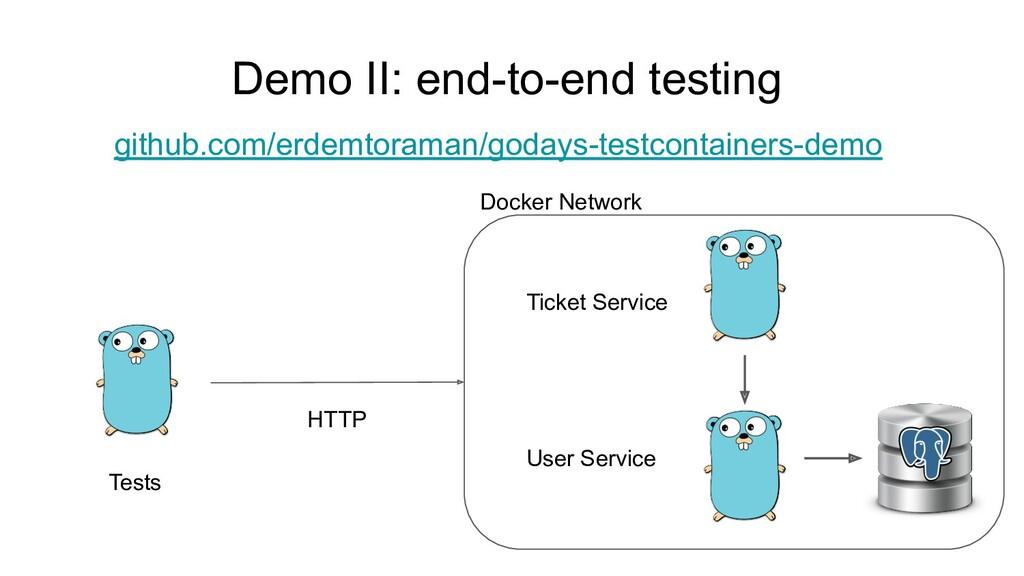 Demo II: end-to-end testing User Service github...