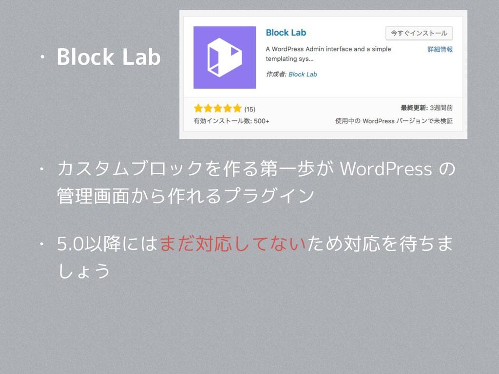 • Block Lab • カスタムブロックを作る第一歩が WordPress の 管理画面か...