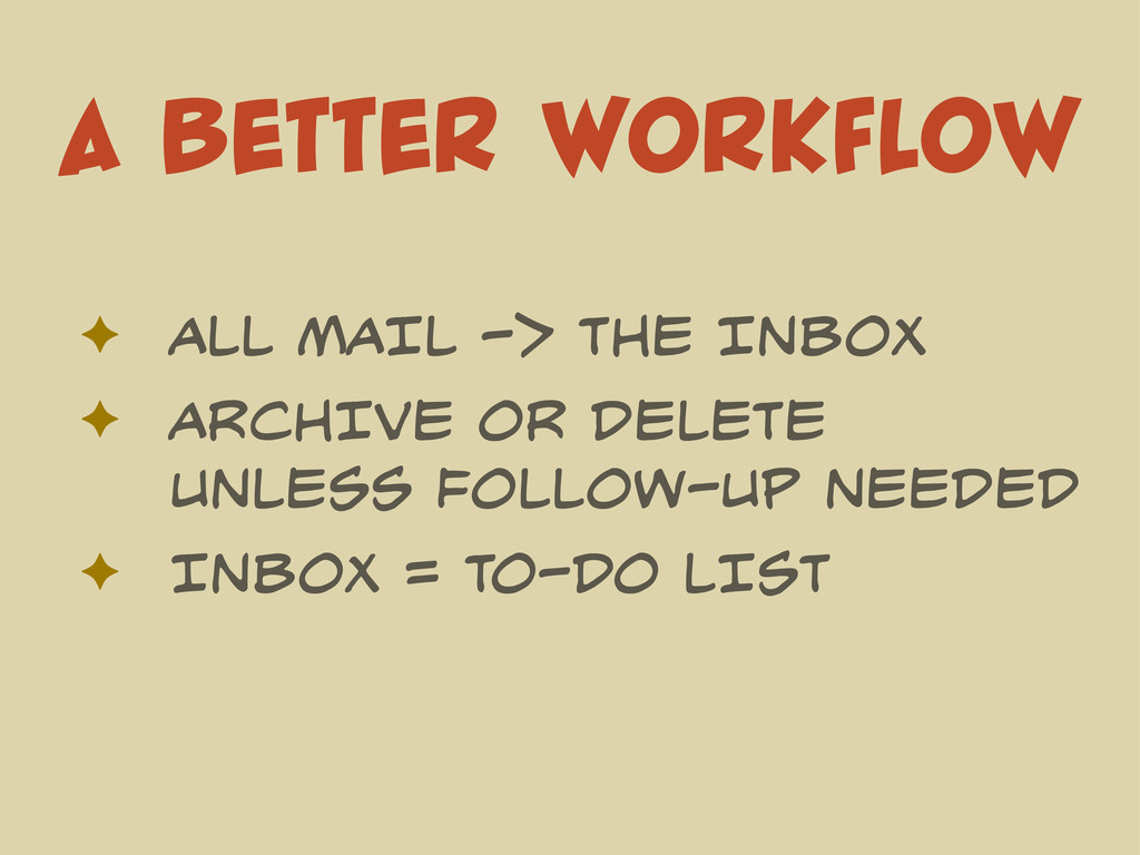 A BETTER WORKFLOW ✦ ALL MAIL -> THE INBOX ✦ ARC...