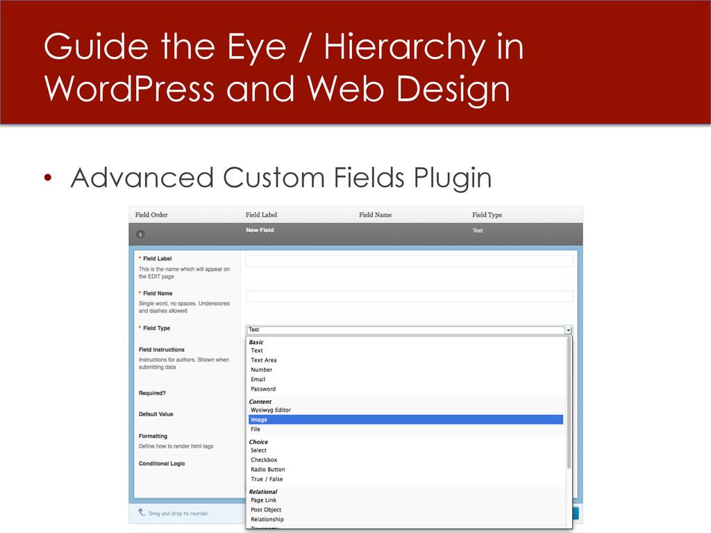• Advanced Custom Fields Plugin Guide the Eye ...