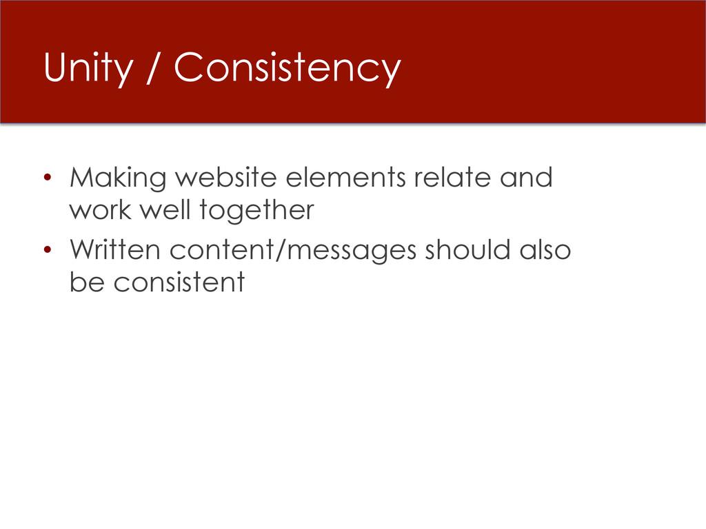 Unity / Consistency • Making website elements ...