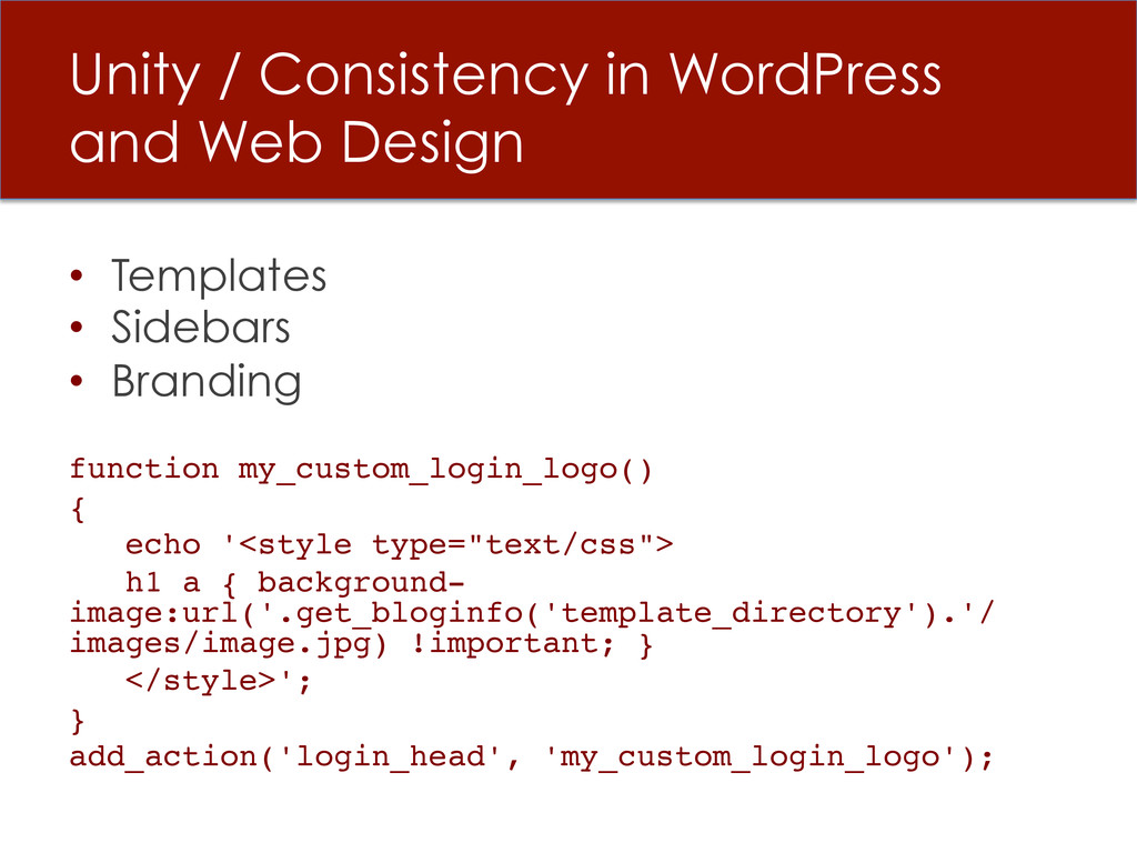 Unity / Consistency in WordPress and Web Design...
