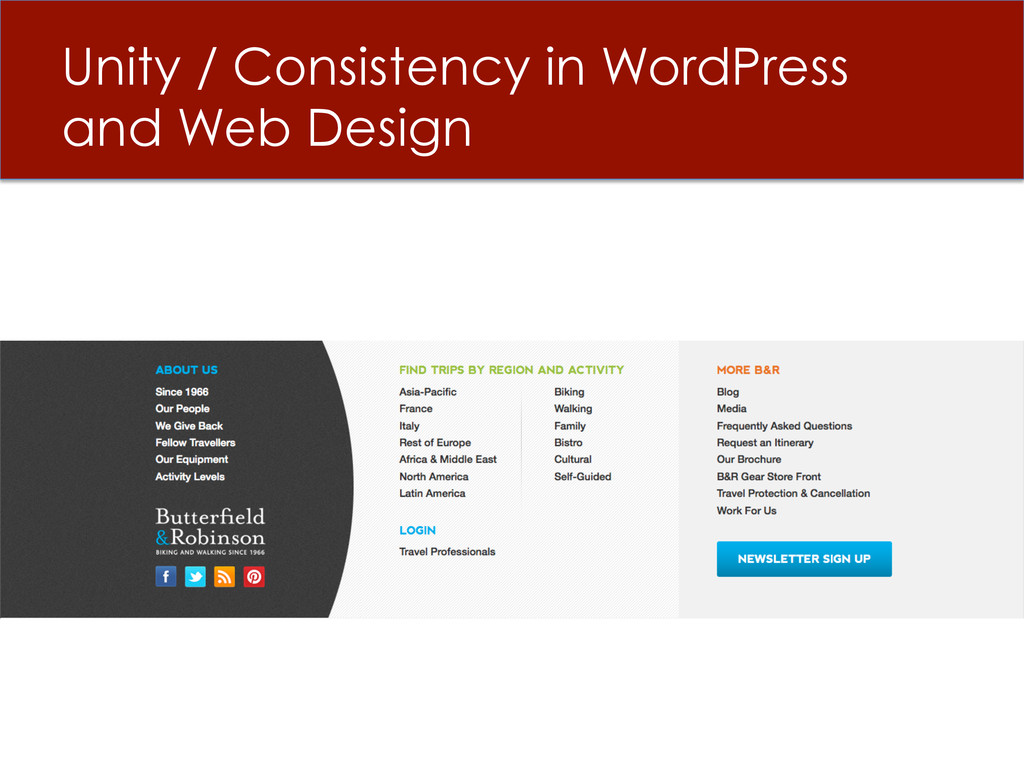 Unity / Consistency in WordPress and Web Design
