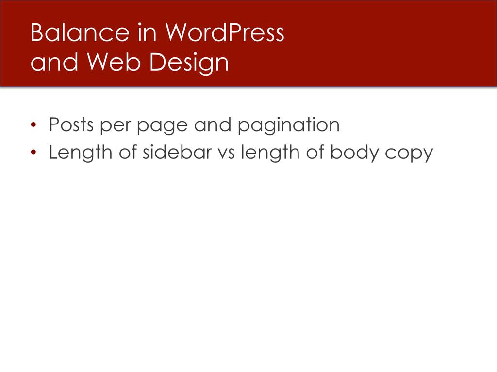 Balance in WordPress and Web Design • Posts pe...