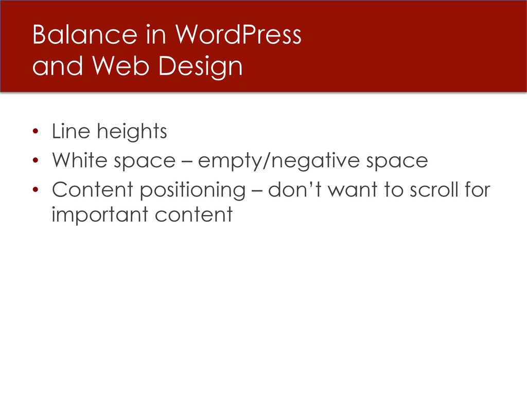 Balance in WordPress and Web Design • Line hei...