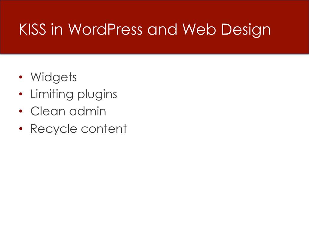 KISS in WordPress and Web Design • Widgets • ...