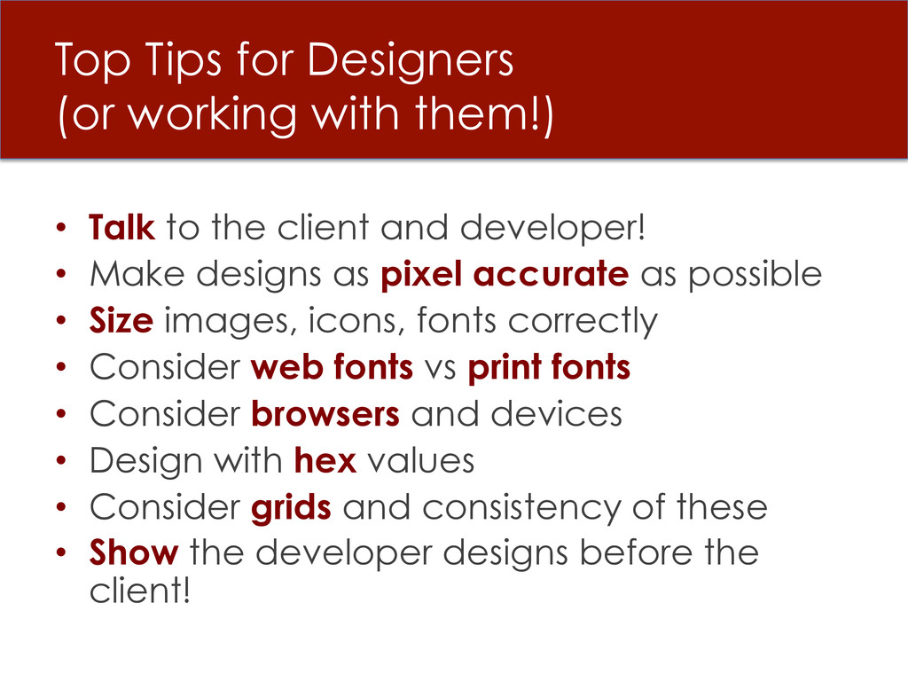 Top Tips for Designers (or working with them!) ...
