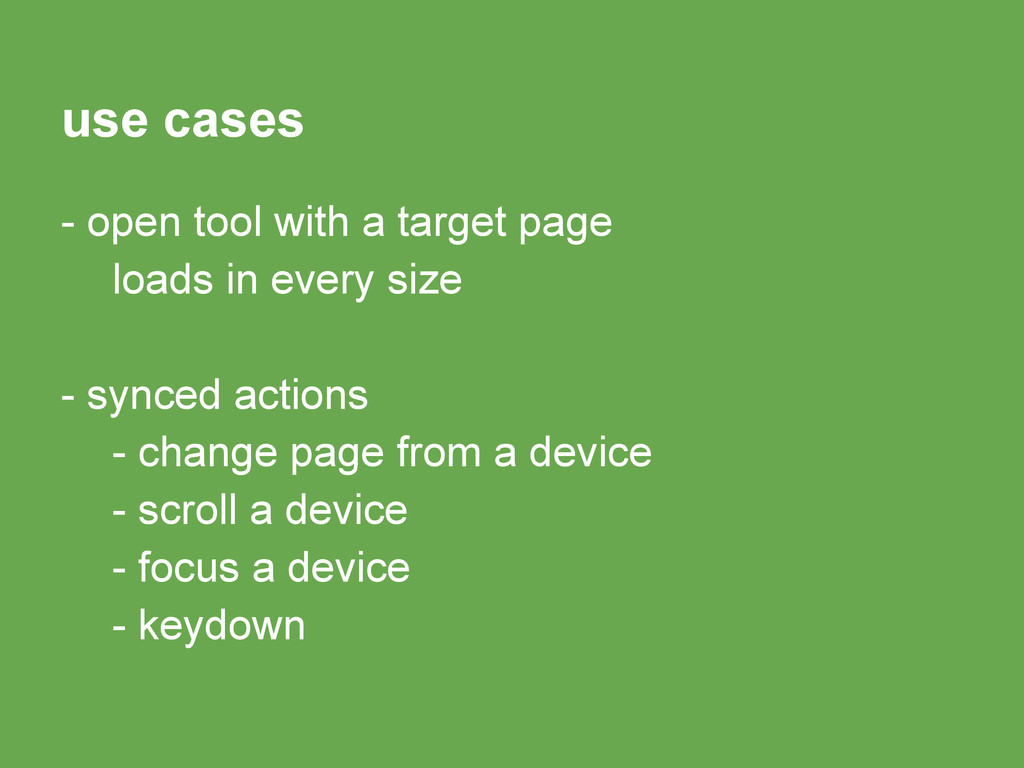 use cases - open tool with a target page loads ...