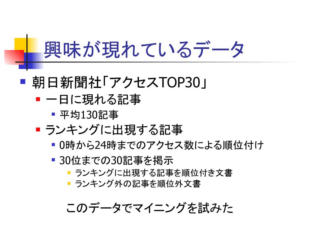 興味が現れているデータ  朝日新聞社「アクセスTOP30」  一日に現れる記事  平均1...