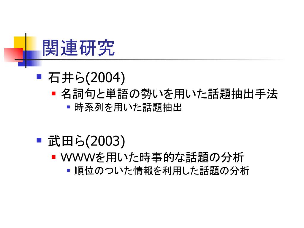 関連研究  石井ら(2004)  名詞句と単語の勢いを用いた話題抽出手法  時系列を用い...