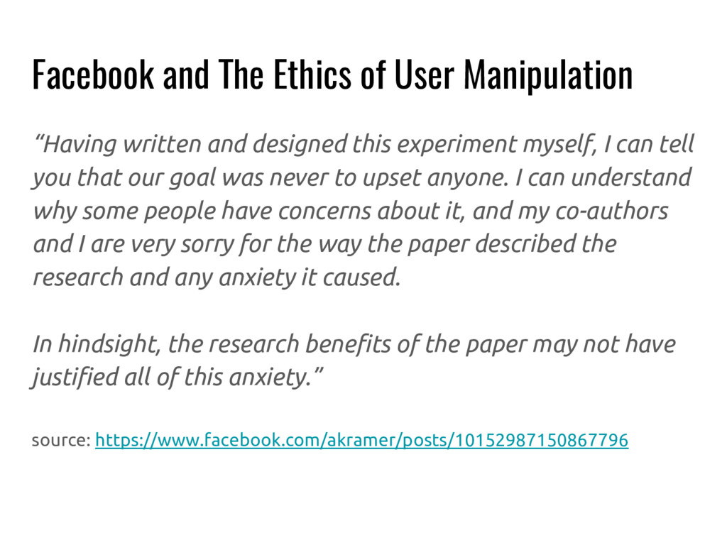 """Facebook and The Ethics of User Manipulation """"H..."""