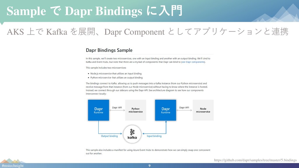 9 #mstechnight Sample で Dapr Bindings に入門 AKS 上...