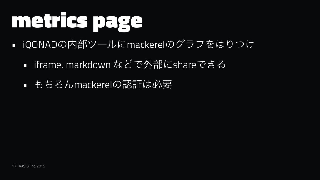 metrics page • iQONADͷ෦πʔϧʹmackerelͷάϥϑΛΓ͚ͭ •...